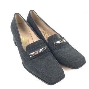 Salvatore Ferragamo wool block heel loafers